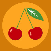 Red cherry. Flat design, vector illustration, vector.