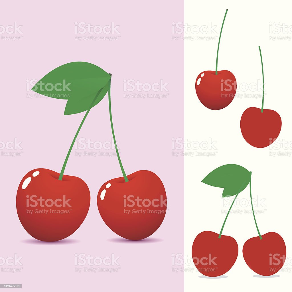 Red cherry - vector royalty-free red cherry vector stock vector art & more images of cartoon