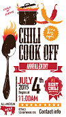Vector illustration of a Chili Cookoff invitation design template. Bright and colorful. Includes orange, red color themes with brown large crock pot on flames and spoon. White background Perfect for white background design for picnic invitation design template, summer barbecue event, picnic celebration, backyard bbq, private or corporate party, birthday party, fun family event gathering, potluck supper.