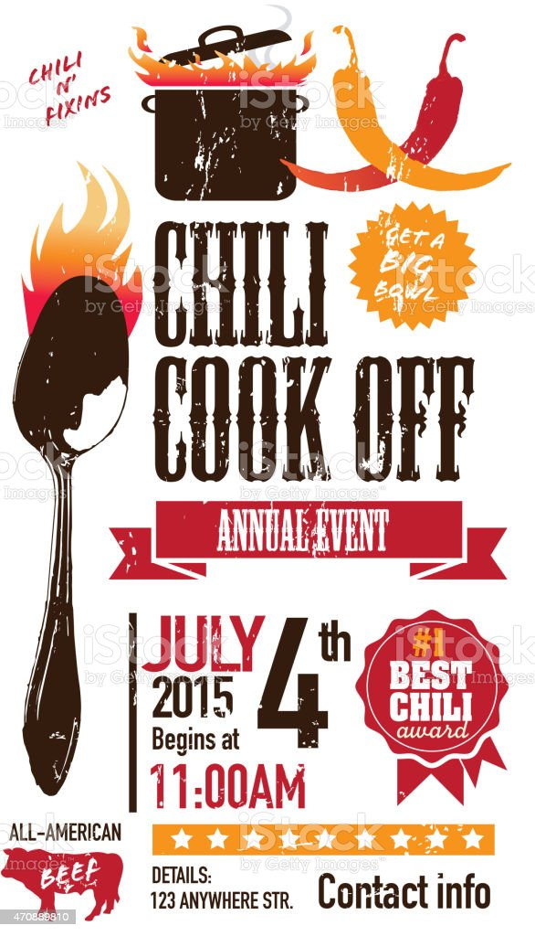 Red Chili cookoff invitation design template on white background vector art illustration