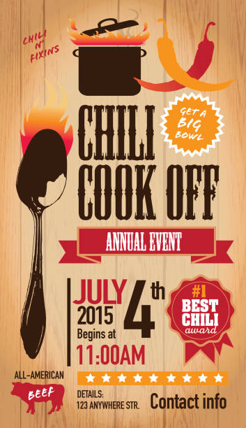 Red Chili cookoff invitation design template on wooden background Vector illustration of a Chili Cookoff invitation design template. Bright and colorful. Includes green, red color themes with green large crock pot on flames and spoon. Wooden background Perfect for white background design for picnic invitation design template, summer barbecue event, picnic celebration, backyard bbq, private or corporate party, birthday party, fun family event gathering, potluck supper. cooking competition stock illustrations