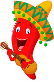 Vector illustration of Red Chili Pepper Cartoon Character With Mexican Hat Playing A Guitar