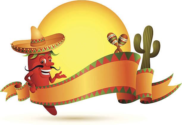 赤唐辛子、バナー - メキシコ料理点のイラスト素材/クリップアート素材/マンガ素材/アイコン素材
