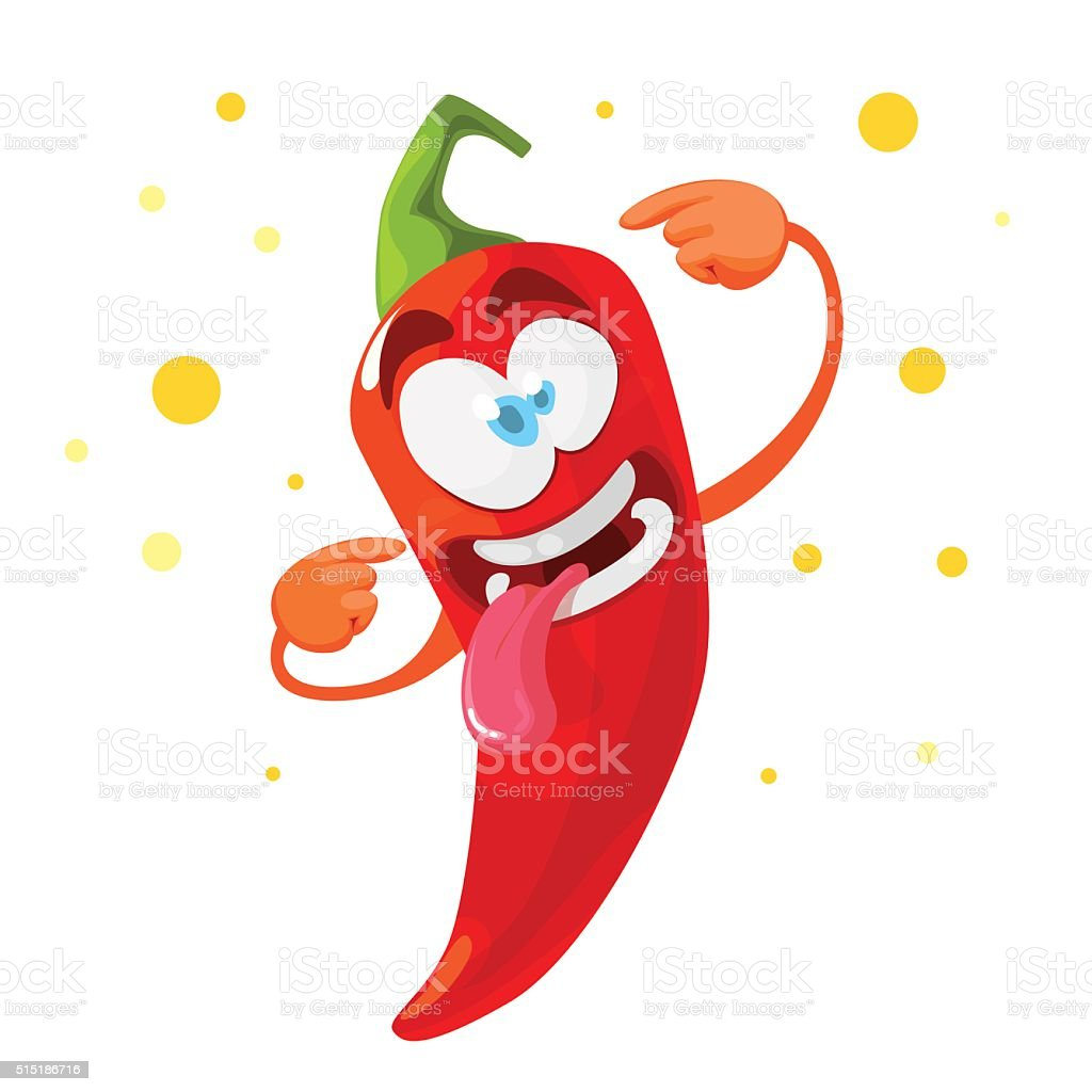 Red chilli pepper crazy cartoon character vector art illustration