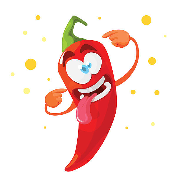 Red chilli pepper crazy cartoon character Vector cartoon illustration of a red pepper mascot mexican restaurant stock illustrations