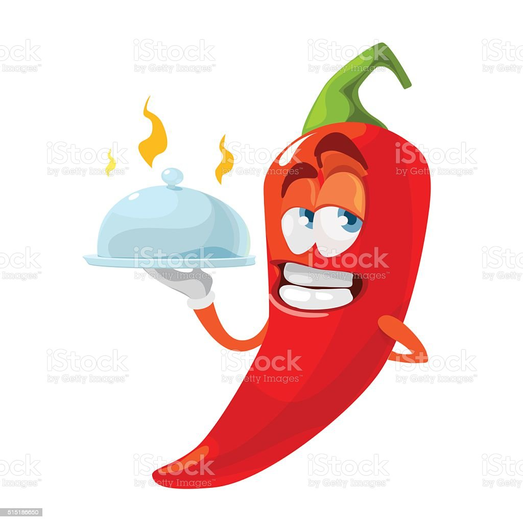 Red chilli pepper delivers food as waiter funny cartoon character vector art illustration