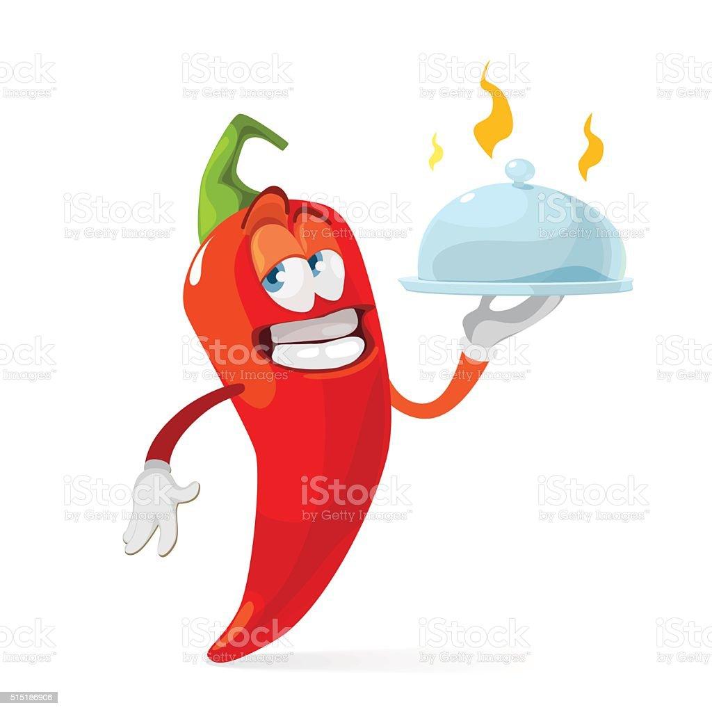 Red chilli pepper delivers food as waiter vector art illustration