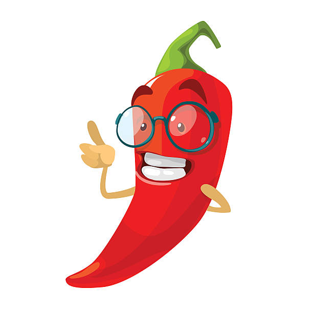Red chilli pepper funny cartoon character Vector cartoon illustration of a red pepper mascot in glasses mexican restaurant stock illustrations