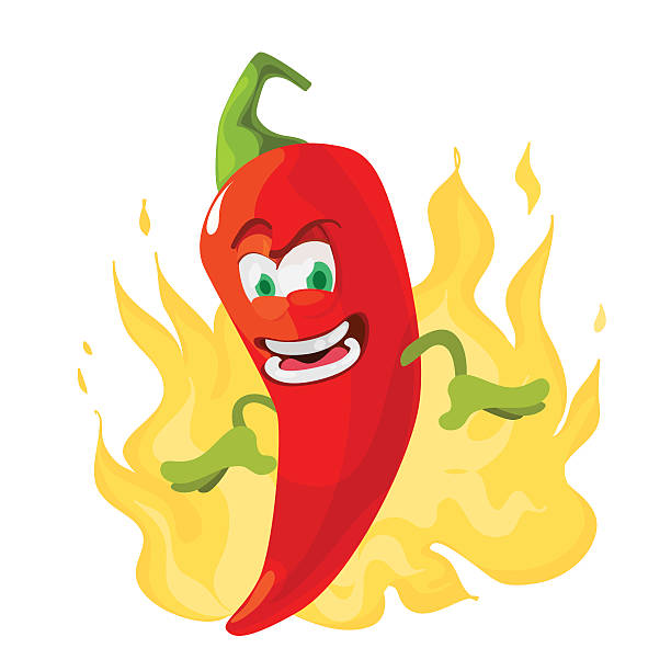 Red chilli pepper funny cartoon character Vector cartoon illustration of a red pepper mascot on the background of fire mexican restaurant stock illustrations
