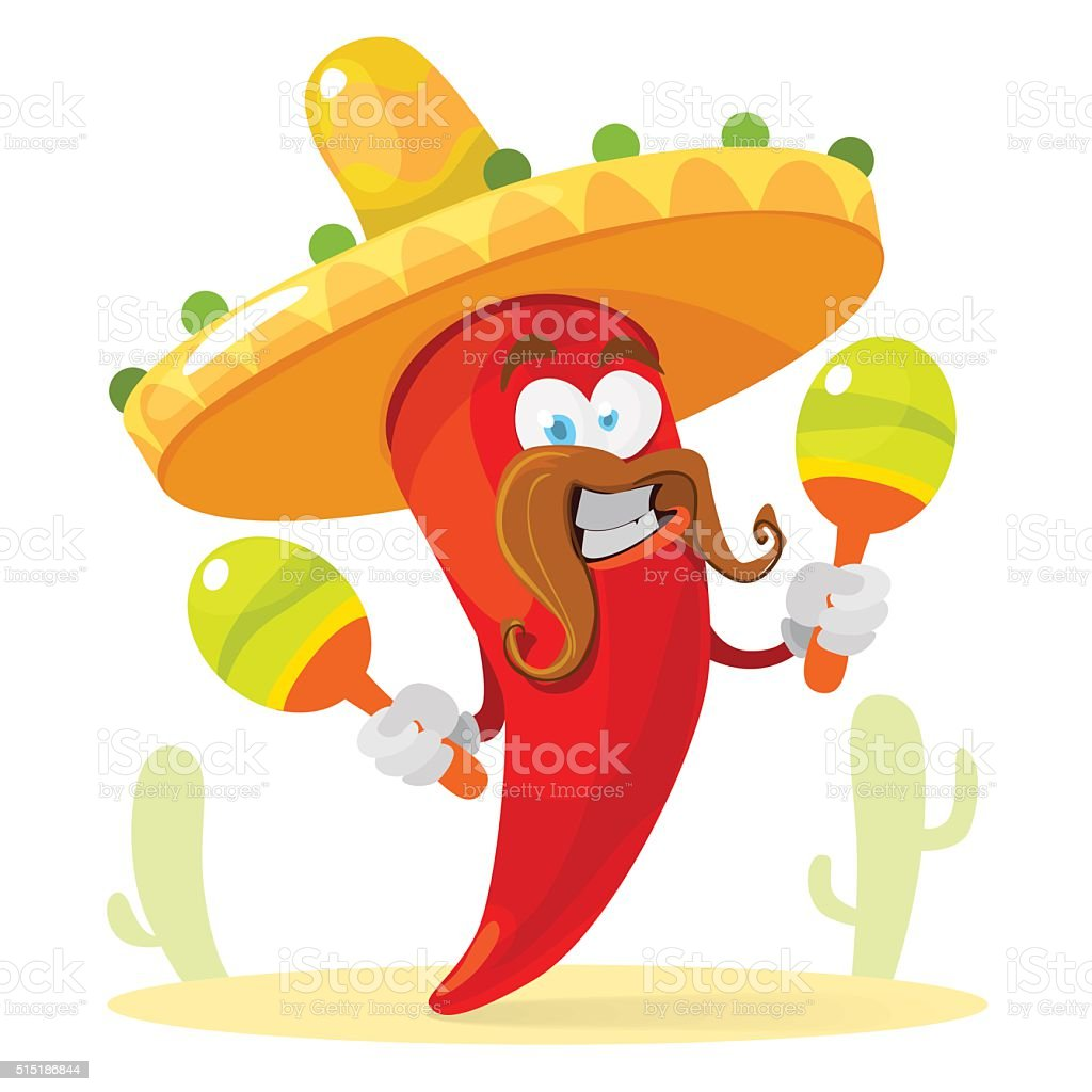 Red chilli pepper in a sombrero playing the maracas vector art illustration