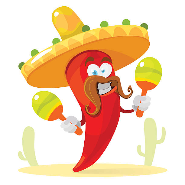 Red chilli pepper in a sombrero playing the maracas Vector cartoon illustration of a red pepper mascot in a sombrero holding maracas on a background of cacti mexican restaurant stock illustrations