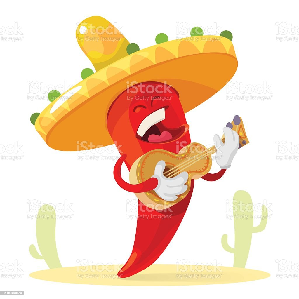 Red chilli pepper in a sombrero plays guitar vector art illustration