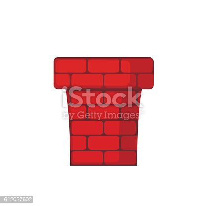 Red Chimney icon in flat style isolated on white background. Vector illustration.