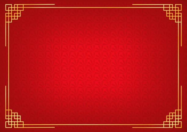 赤い中国少しファンの抽象的な背景ゴールデン枠で - 中国点のイラスト素材/クリップアート素材/マンガ素材/アイコン素材