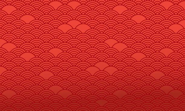 빨간색 중국어 패턴, 동양 배경입니다. 벡터 - chinese new year stock illustrations