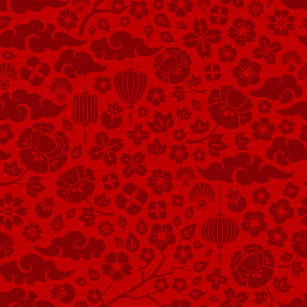 red chinese seamless pattern - chinese new year stock illustrations