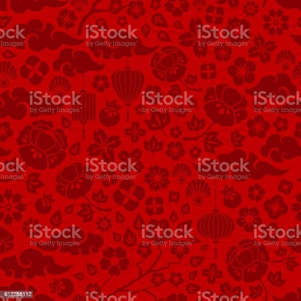 Red Chinese Seamless Pattern - Stockowe grafiki wektorowe i więcej obrazów Abstrakcja