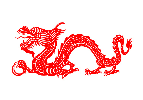 Red Chinese Zodiac Animals Papercutting - china dragon holding orb vector design