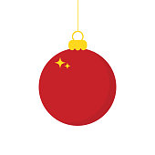 Red Chrismas ball icon isolated on white background. Vector illustration. Eps 10.