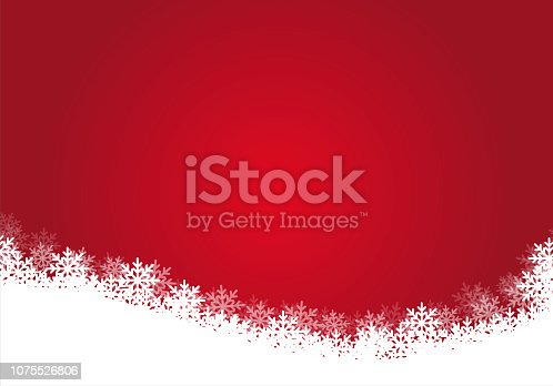 Red gradient color background with white snowflakes, illustration - vector EPS 10.