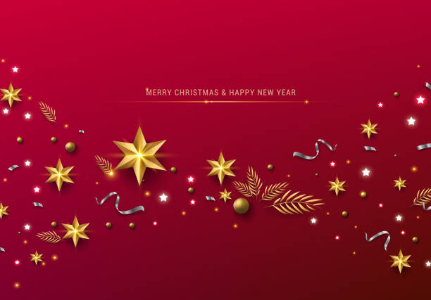 red christmas background with border made of cutout gold foil stars and silver snowflakes. chic christmas greeting card. - christmas background stock illustrations