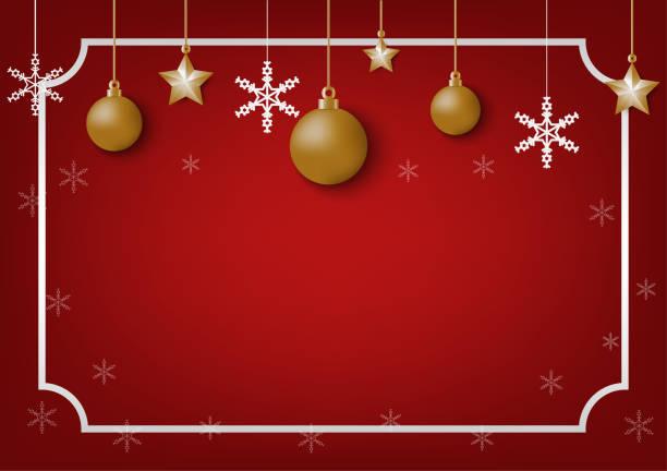 Rote Weihnachten Hintergrund mit Gold Ball Sterne und Silber Schneeflocken, Chic Weihnachten Grußkarte – Vektorgrafik