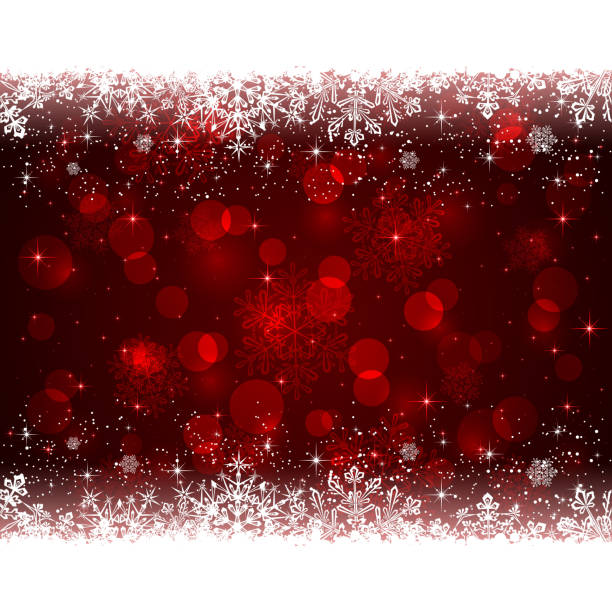 Red Christmas background with snowflakes vector art illustration