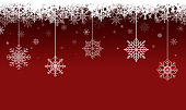 Red Christmas Background Illustration with Snowflakes