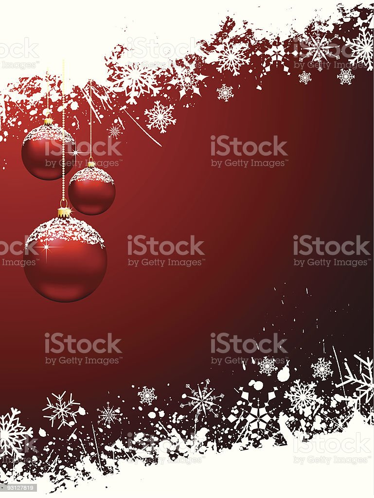 Red Christmas background with snowy red baubles and flakes royalty-free stock vector art