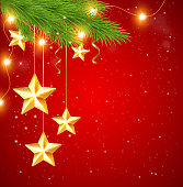 Red Christmas background with shining golden stars and fir tree. EPS 10 file, contains transparencies.