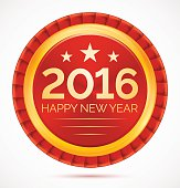 Red christmas badge 2016 happy new year