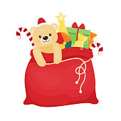 Red christmas bag with presents. Vector illustration. Cartoon style.