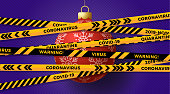 Red christmas ball and Quarantine biohazard danger. yellow and black stripes. Coronavirus Covid-19 and christmas or new year canceled concept. Vector illustration