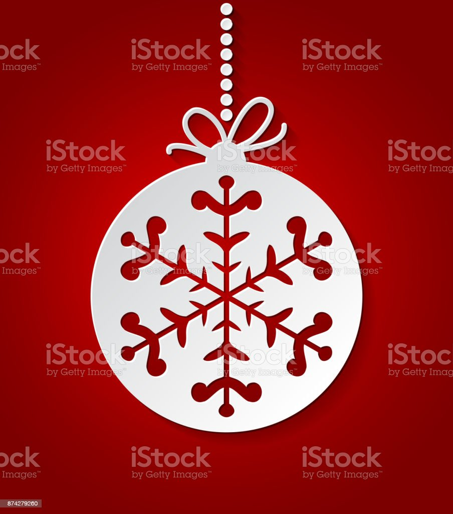 red christmas ball background with paper snowflakes christmas card