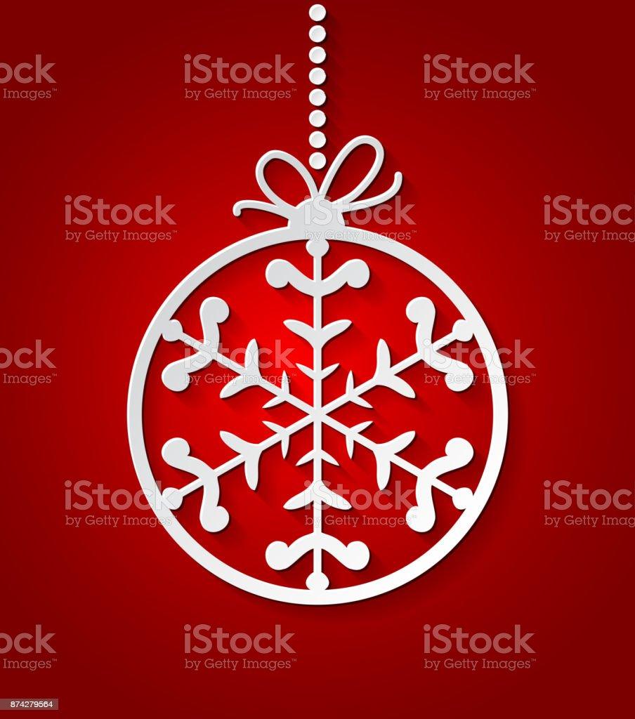 Weihnachtskugel rot hintergrund mit papier schneeflocken weihnachtskarte flocke xmas einladungen vorlage