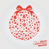 Red Christmas decoration ball with icons and text. Text and design elements are on different layers, grouped.  Aics3 and Hi-res jpg files are also included.