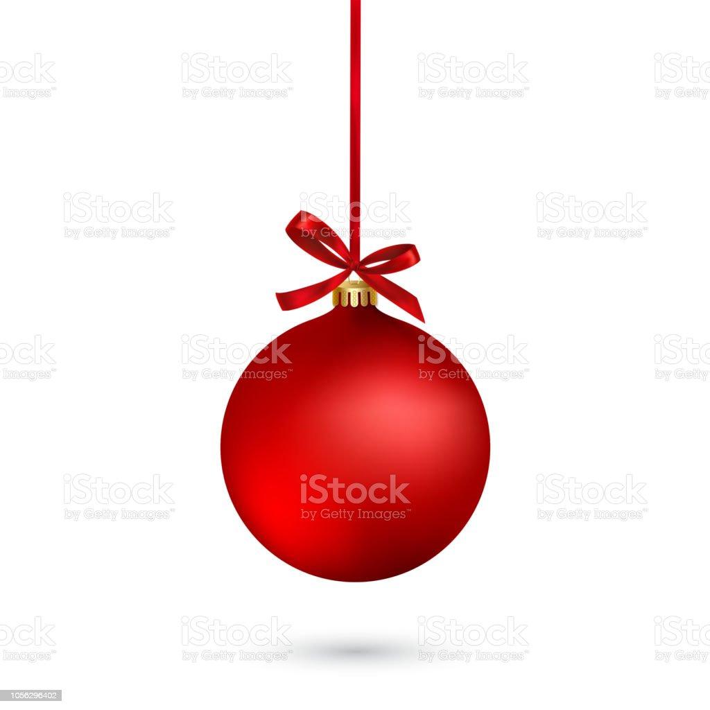 Boule de Noël rouge avec ruban et archet sur fond blanc. Illustration vectorielle. - clipart vectoriel de Affiche libre de droits