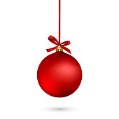 Red Christmas ball with ribbon and a bow on white background. Vector illustration.