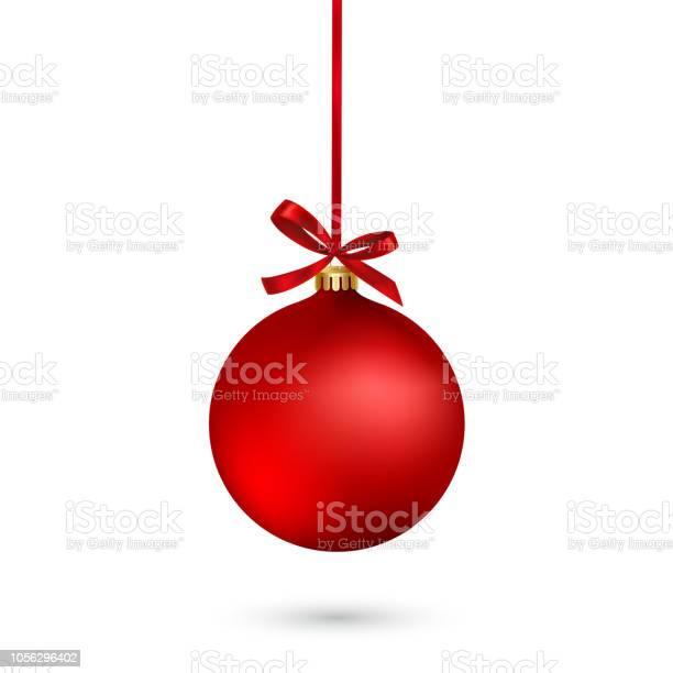 Boule De Noël Rouge Avec Ruban Et Archet Sur Fond Blanc Illustration Vectorielle Vecteurs libres de droits et plus d'images vectorielles de Affiche