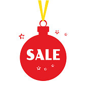Red Christmas ball with yellow ribbon, stars, and white inscription SALE. Vector illustration