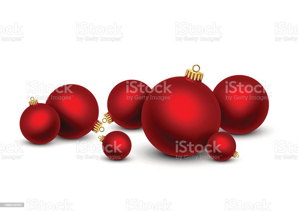 Red Christmas balls on white background vector art illustration
