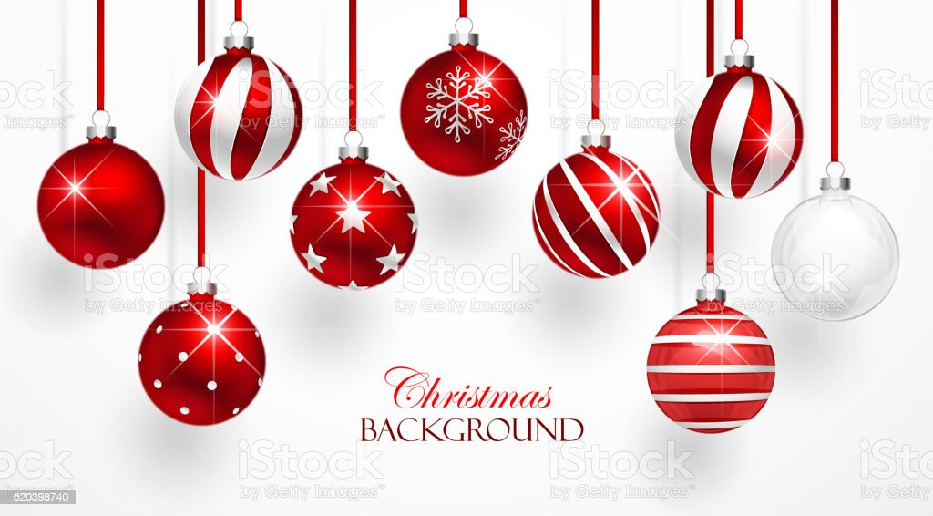 Red Christmas Balls Set vector art illustration
