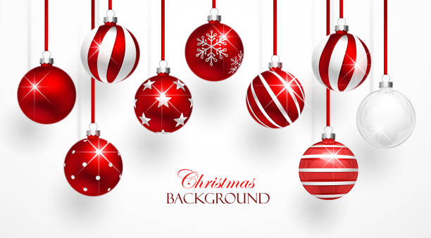 red christmas balls set - christmas decorations stock illustrations