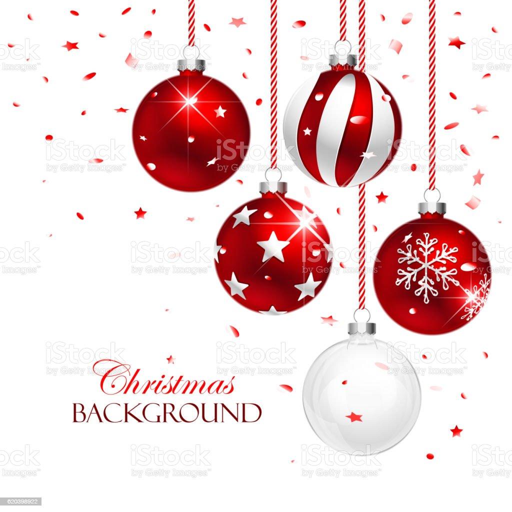 Red Christmas Balls vector art illustration