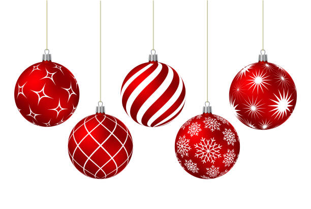 Red christmas balls with different patterns Red christmas balls with different patterns on white. Vector illustration. christmas ornament stock illustrations