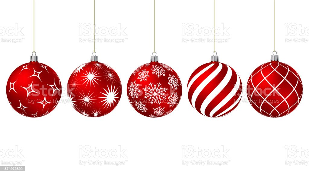 Red christmas balls with different patterns royalty-free red christmas balls with different patterns stock illustration - download image now