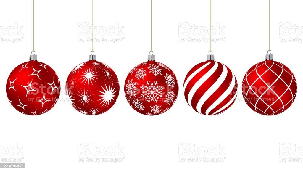 Bolas de Navidad rojas con diversos patrones - ilustración de arte vectorial