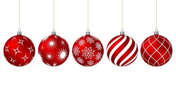 다른 패턴으로 빨간색 크리스마스 볼 - 크리스마스 장식 stock illustrations