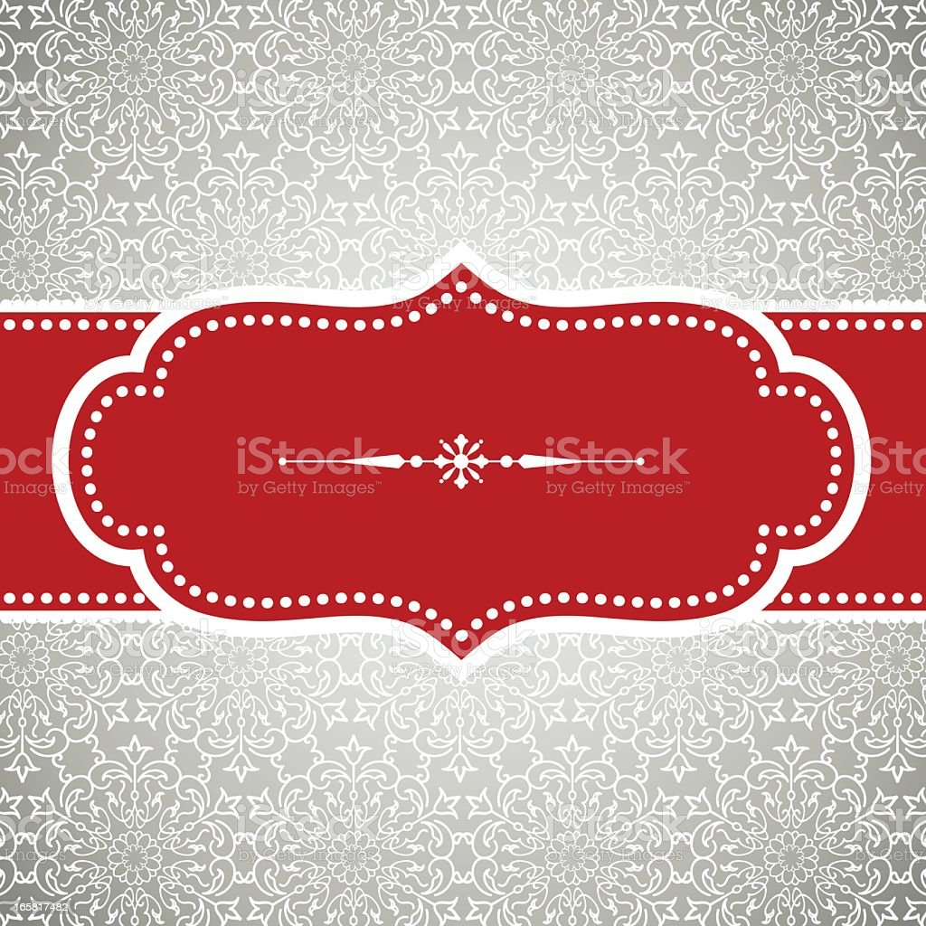 A red Christmas banner with snowflake print vector art illustration