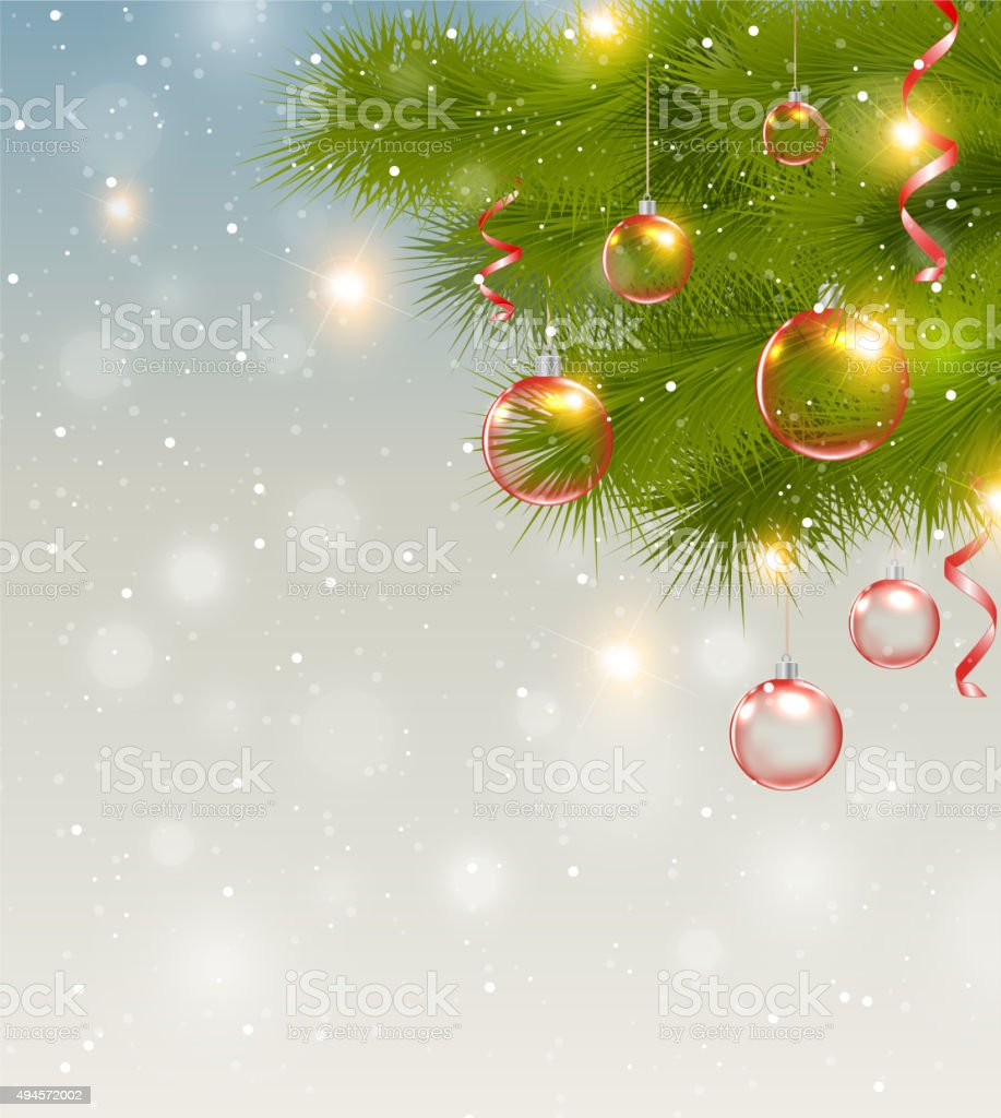 Red Christmas Decorations And Pine Branch stock vector art 494572002 ...